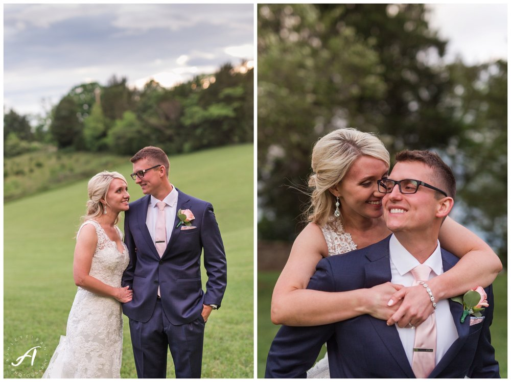 Sunset Portraits on a wedding day || Spring Trivium Estate Wedding || blush and navy wedding || Ashley Eiban Photography || www.ashleyeiban.com