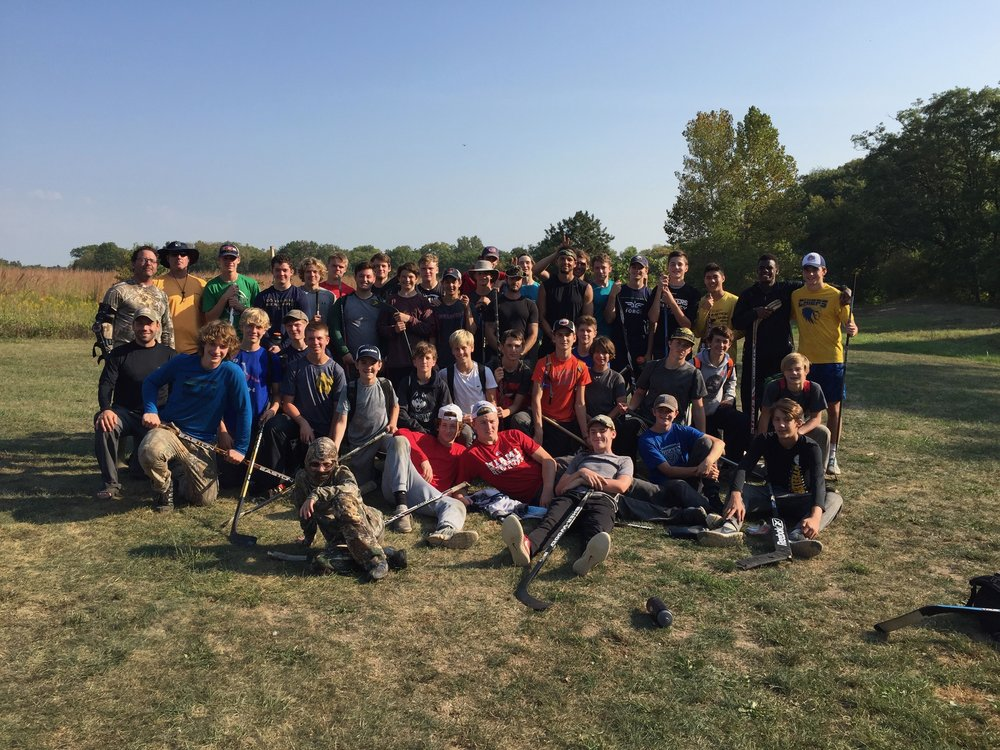 The young men of the Indy Racers, U 14 and U 16 after a 3 day crucible; Indianapolis Youth Hockey Association 2017