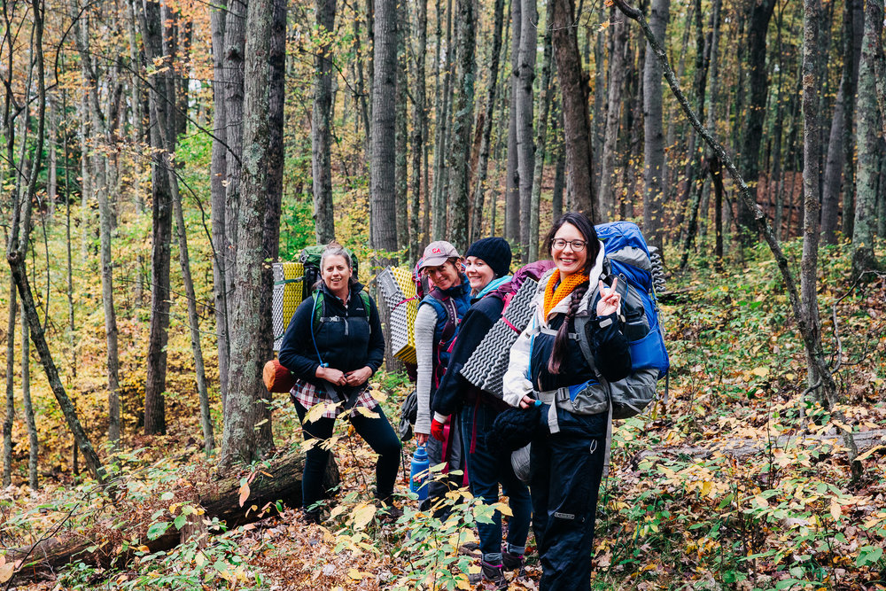 Anne (left) and crew from the first Women's Retreat in October, 2018. White River, Manistee National Forest.  Pic: Amber Telfer Photography