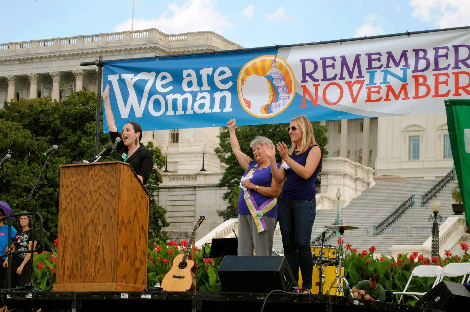 Rousing activists at a rally on the US Capitol