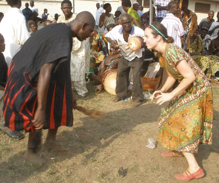 Dancing with Shaman during fieldwork in Ghana