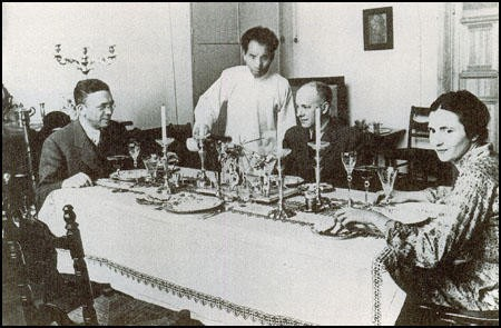 Walter Duranty at a dinner party in his Moscow apartment.