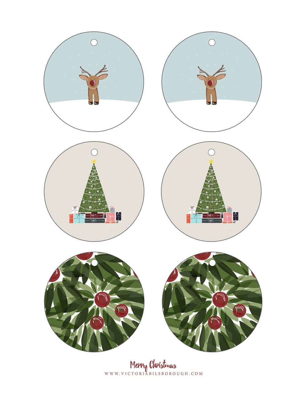 Christmas Printable Gift Tags - www.victoriabilsborough.com