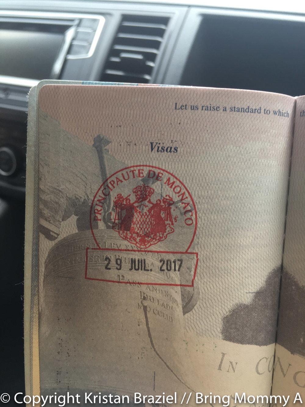 Monaco stamp in my passport!