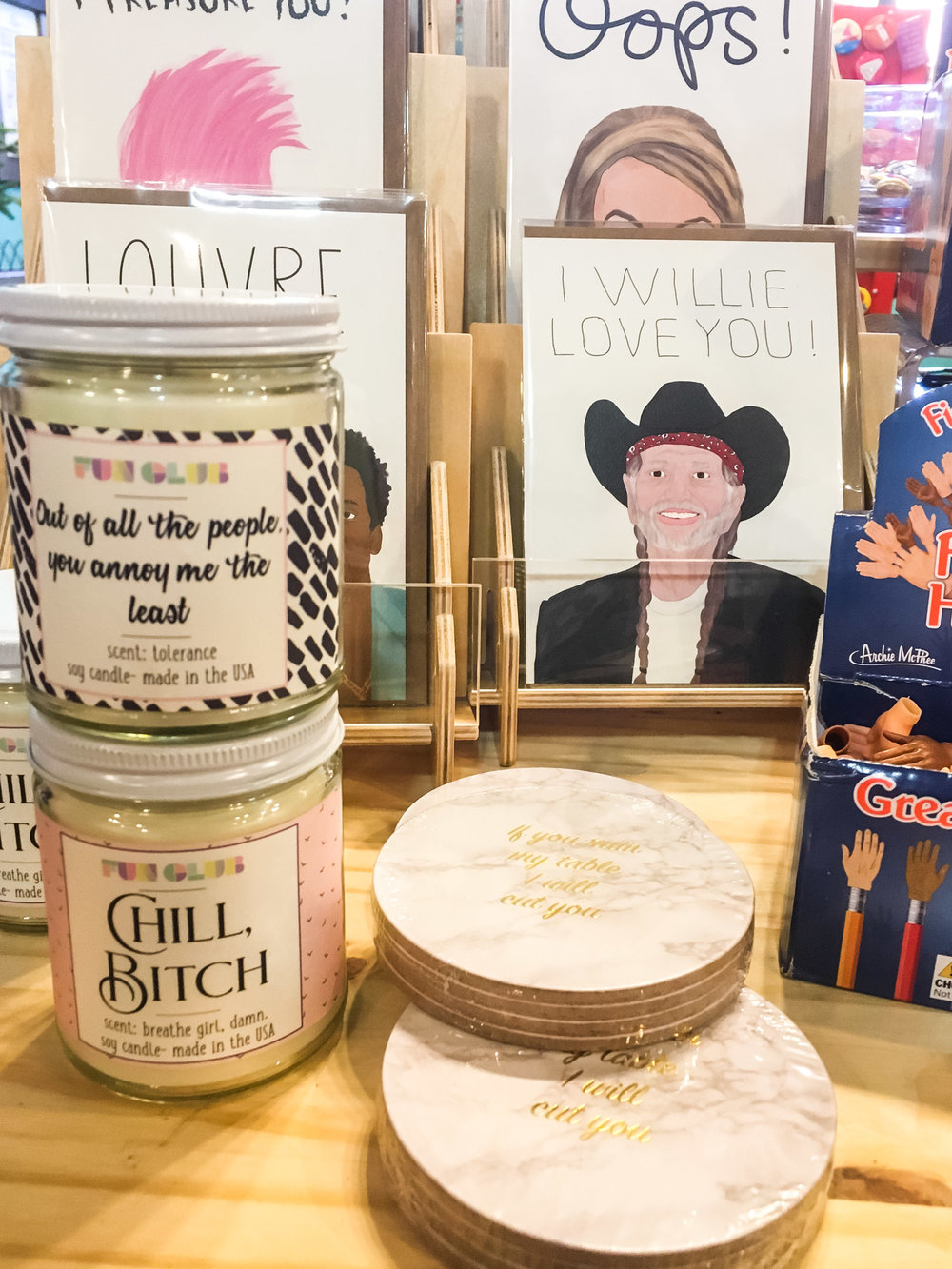"""These  Fun Club  candles are amazing: the jar on """"Chill Bitch"""" says the scent is """"Breathe girl, damn."""""""