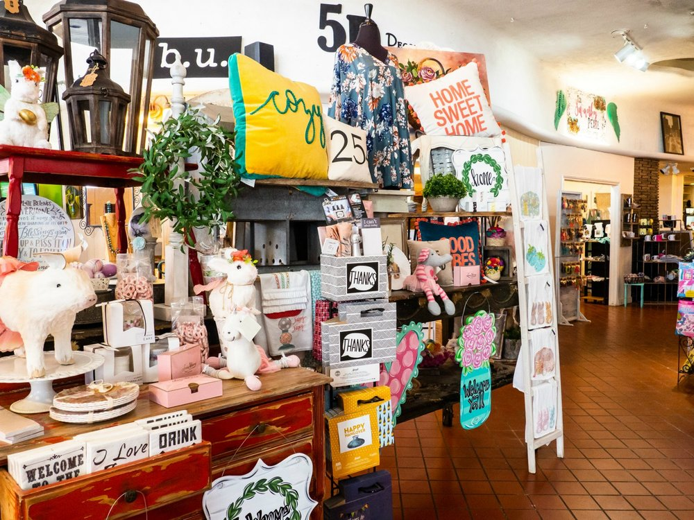 Inside  Sironia  - the store curves down that hallway, with little rooms filled with goodies all along the way
