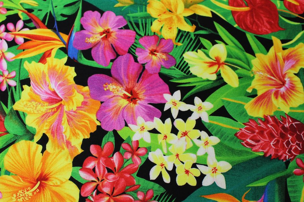 Black Hawaiian Flower Print