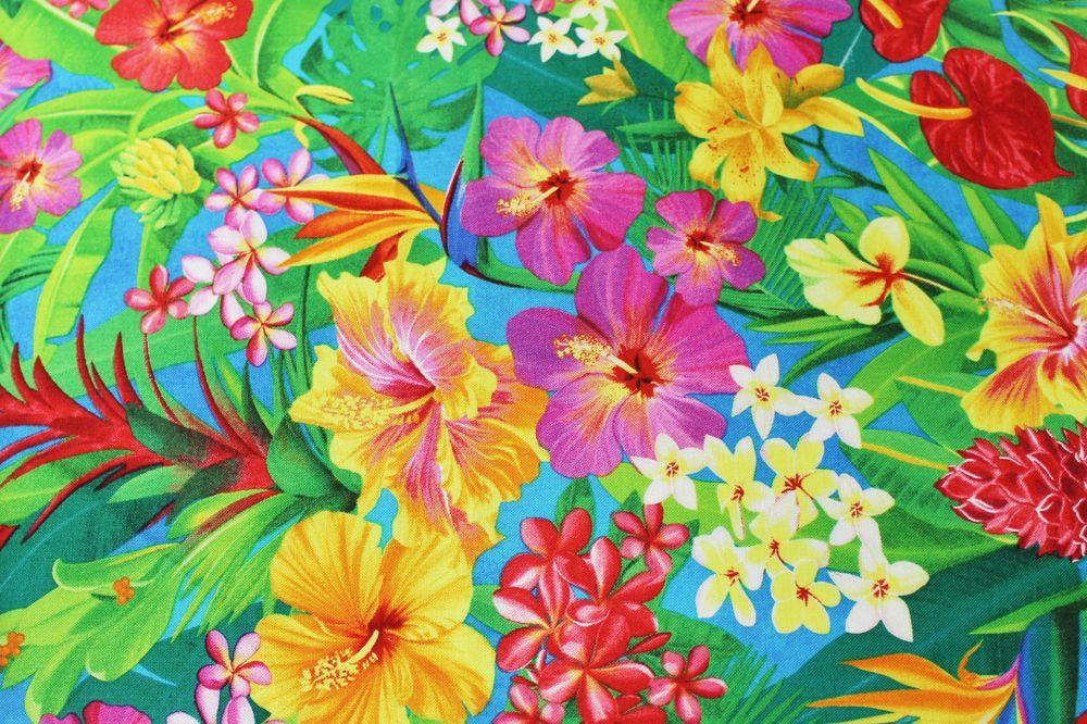 Blue Hawaiian Flower Print