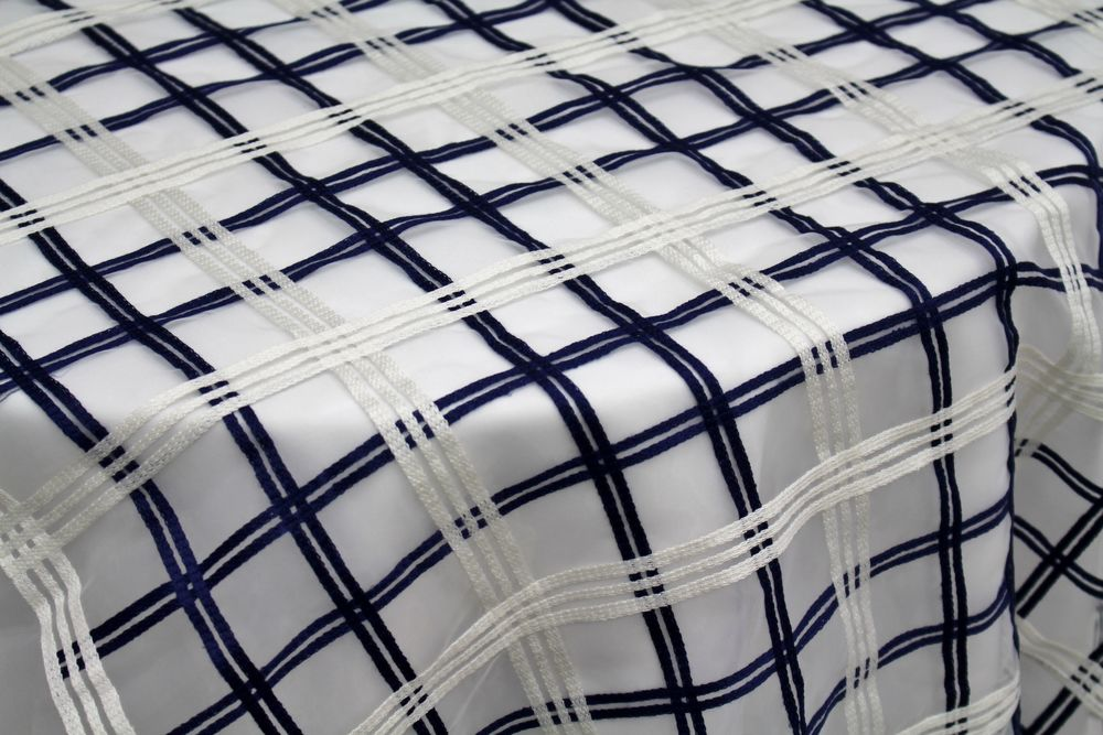 White/Navy Sheer Large Box Plaid