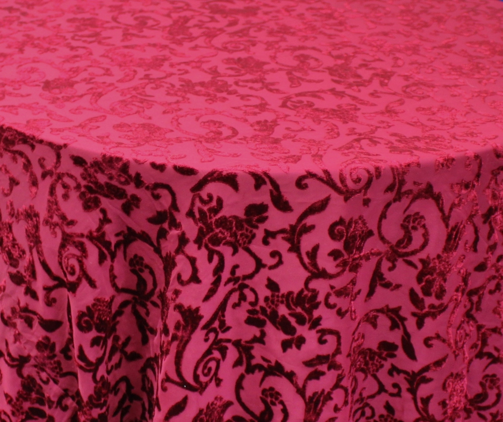 Burgundy Burn Out Damask