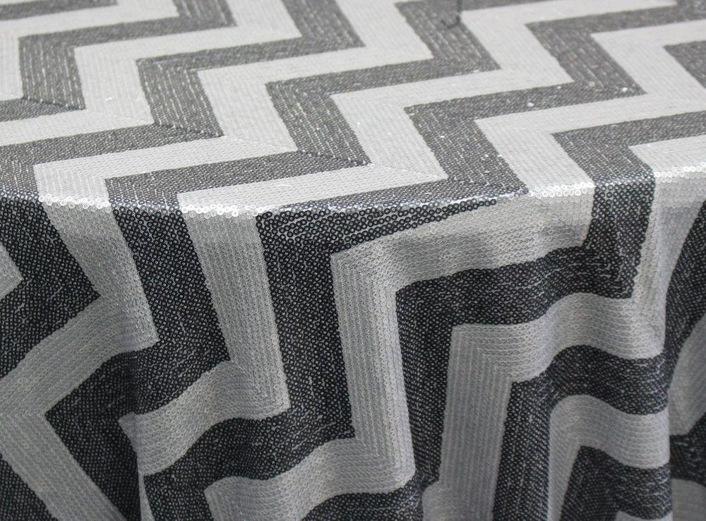 Silver/ Black Zig Zag Metro Sequins