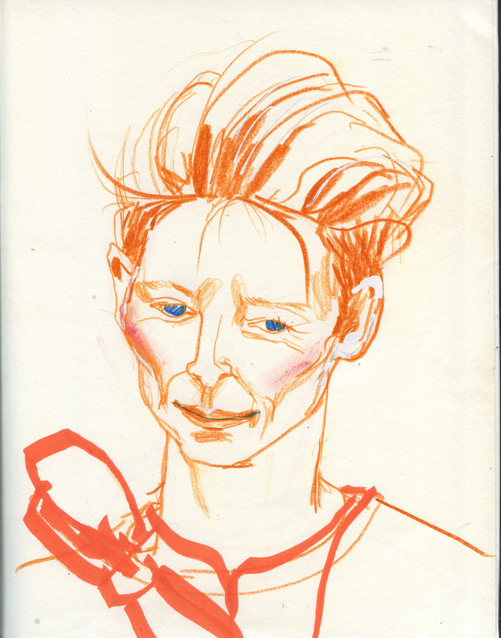 AnOther Magazine: Drawing the cast at the preview of A Bigger Splash.