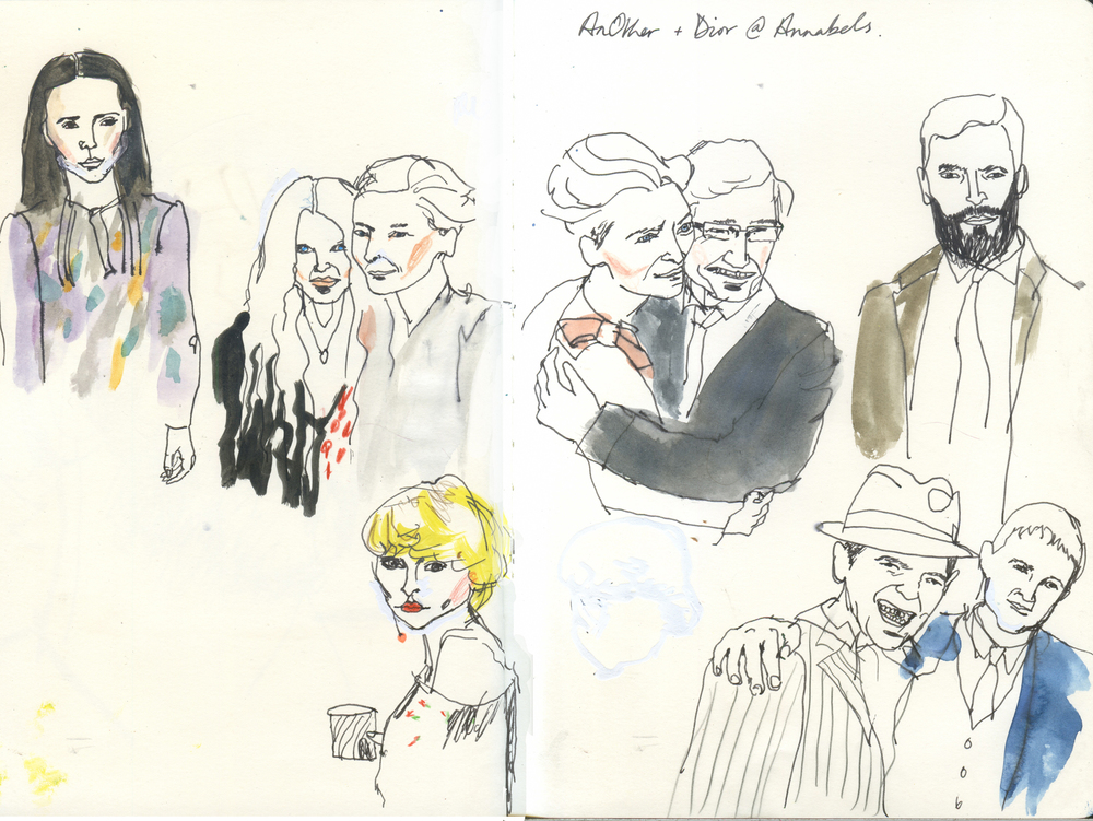AnOther + Dior Drawing at the party at Annabels
