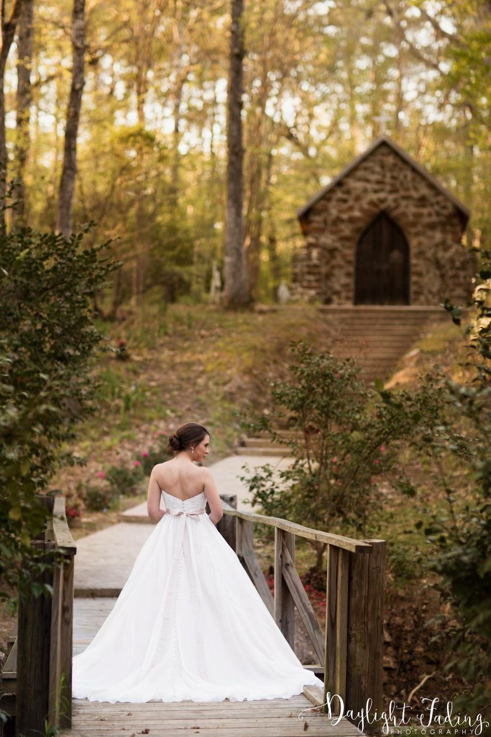 Bride at Rock Chapel in Carmel, Louisiana