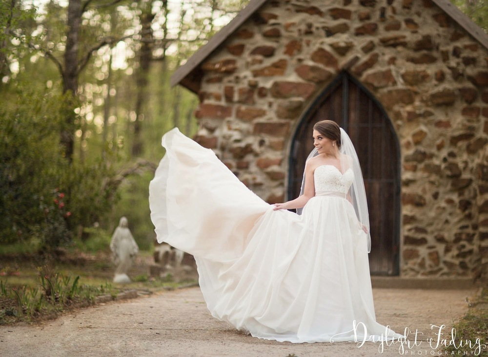 Incredible wedding gown at Rock Chapel in Carmel, Louisiana - daylightfadingphotography.com