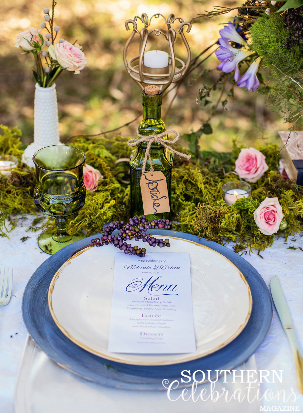 Vintage Woodlands Romance - Reception Tablescape at Windsor Ruins near Port Gibson, Mississippi - daylightfadingphotography.com