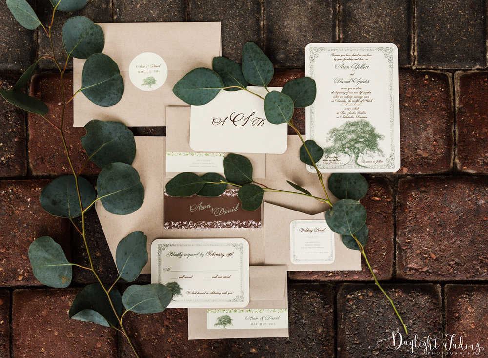 Wedding Invitations Photographed at Natchitoches Event Center - daylightfadingphotography.com
