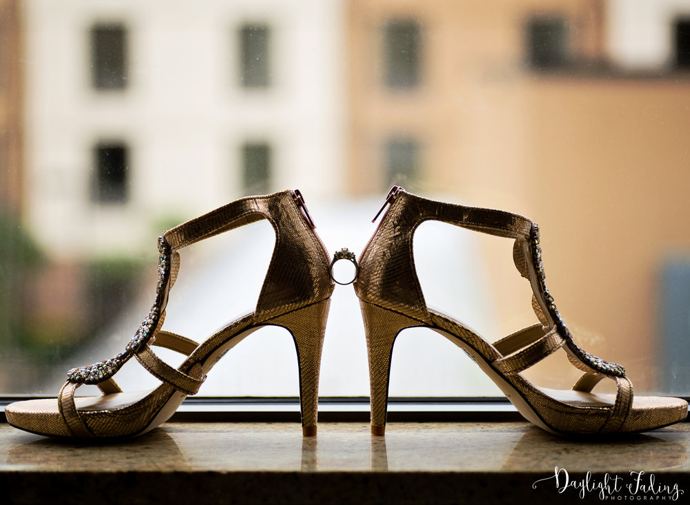Bride's shoes and engagement ring - daylightfadingphotography.com