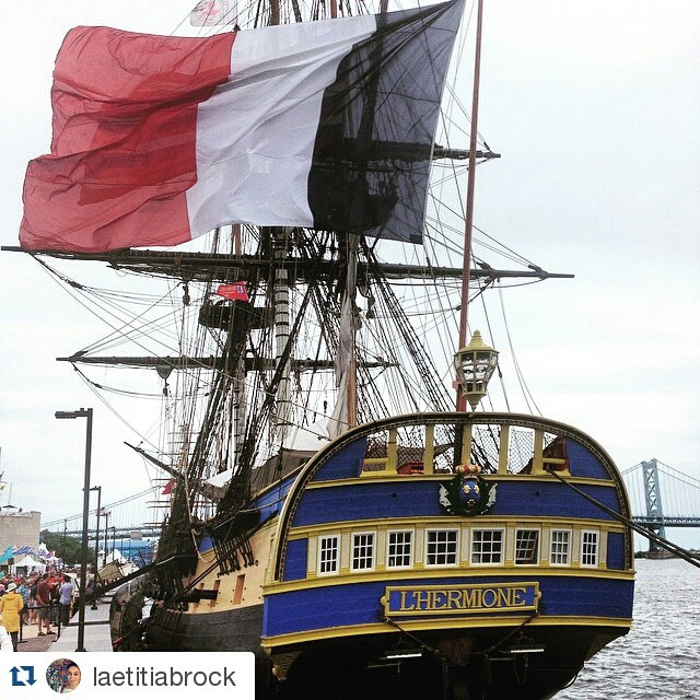 The #Hermione in #Philadelphia. @laetitiabrock ・・・ Finally @hermione_lafayette @hermionevoyage ! ⚓️🇫🇷 #hermione #visitphilly #sshp #hermione2015