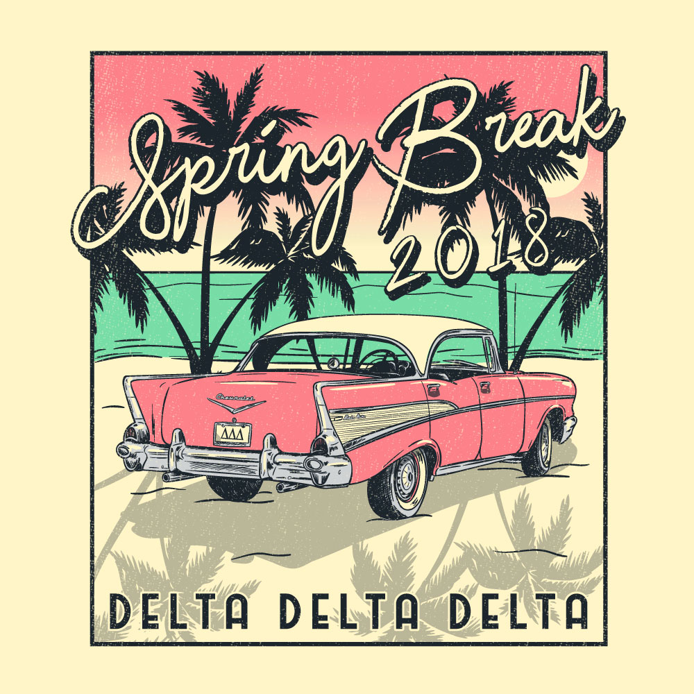 Beach Chevy. Alyssa Moore. T-Shirt Design. Apparel Graphic Design for The Neon South. Adobe Illustrator. Typography. Illustration. Vector illustration.