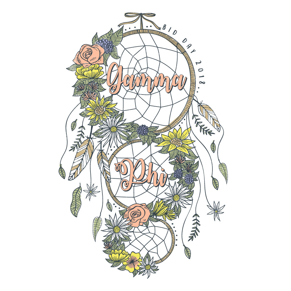 Boho Dream Catcher. Alyssa Moore. T-Shirt Design. Apparel Graphic Design for The Neon South. Adobe Illustrator. Typography. Illustration. Vector illustration.