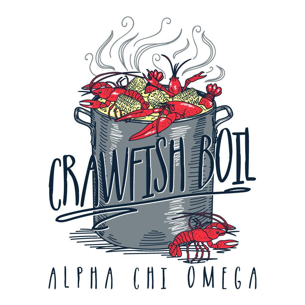 Crawfish Boilin'. Alyssa Moore. T-Shirt Design. Apparel Graphic Design for The Neon South. Adobe Illustrator. Typography. Illustration. Vector illustration.