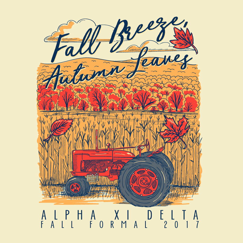 Fall Breeze. Alyssa Moore. T-Shirt Design. Apparel Graphic Design for The Neon South. Adobe Illustrator. Typography. Illustration. Vector illustration.