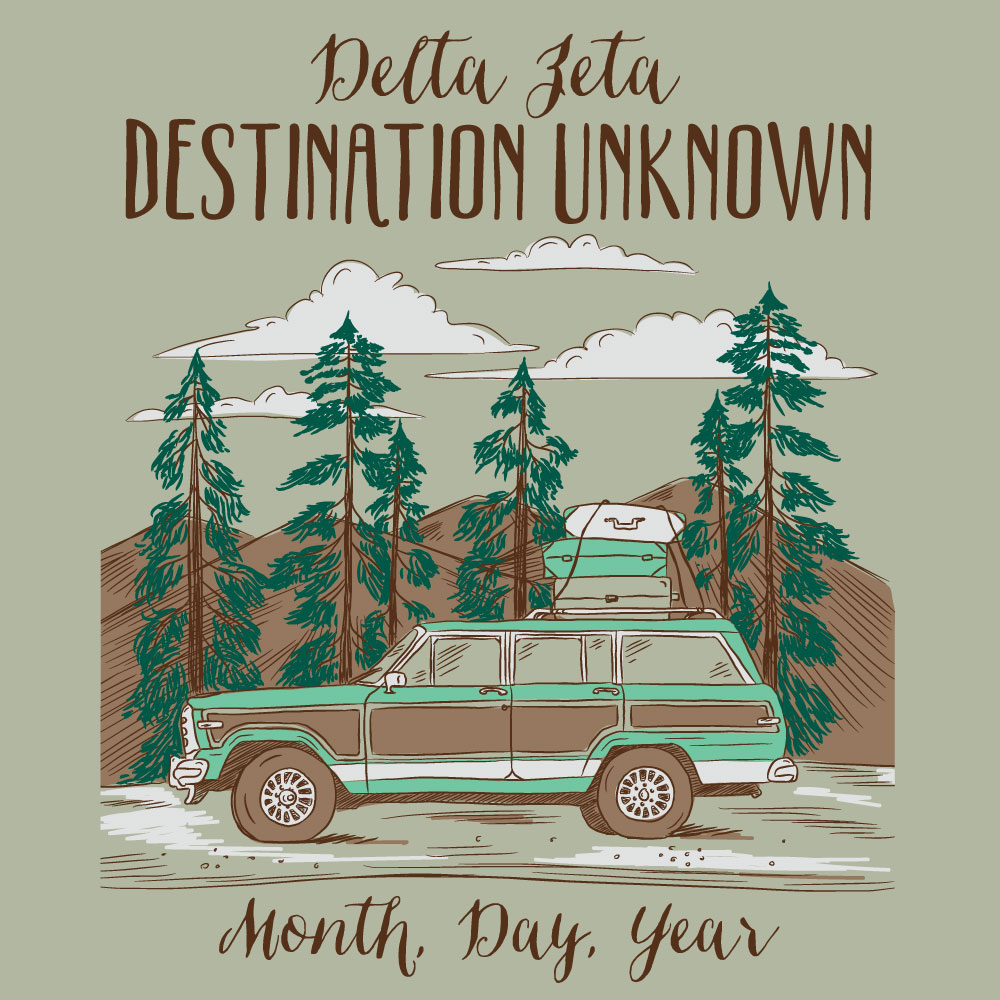Destination Unknown. Alyssa Moore. T-Shirt Design. Apparel Graphic Design for Geneologie. Adobe Illustrator. Typography. Illustration. Vector illustration.
