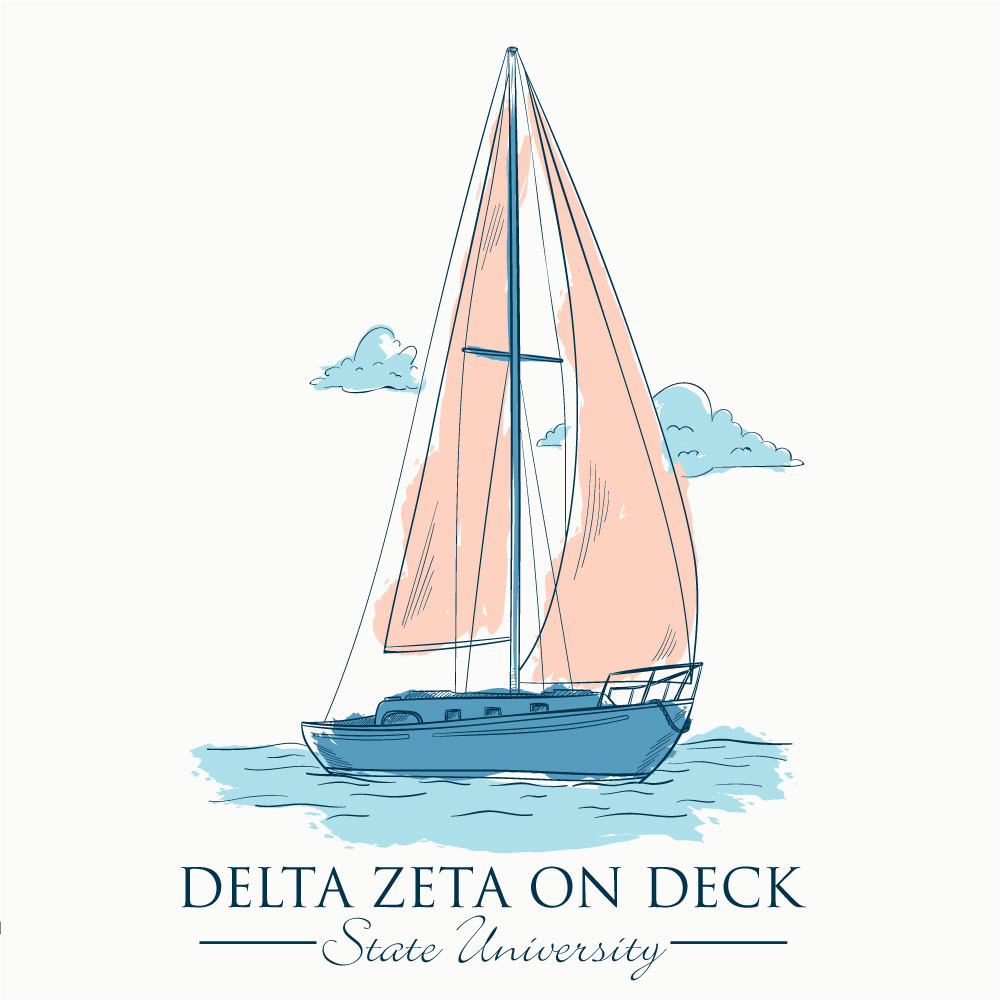 Sailboat. Alyssa Moore. T-Shirt Design. Apparel Graphic Design for Geneologie. Adobe Illustrator. Typography. Illustration. Vector illustration.