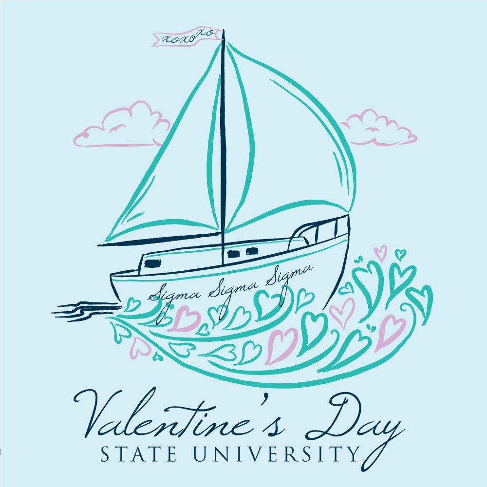 Valentines Sailboat. Alyssa Moore. T-Shirt Design. Apparel Graphic Design for Geneologie. Adobe Illustrator. Typography. Illustration. Vector illustration.