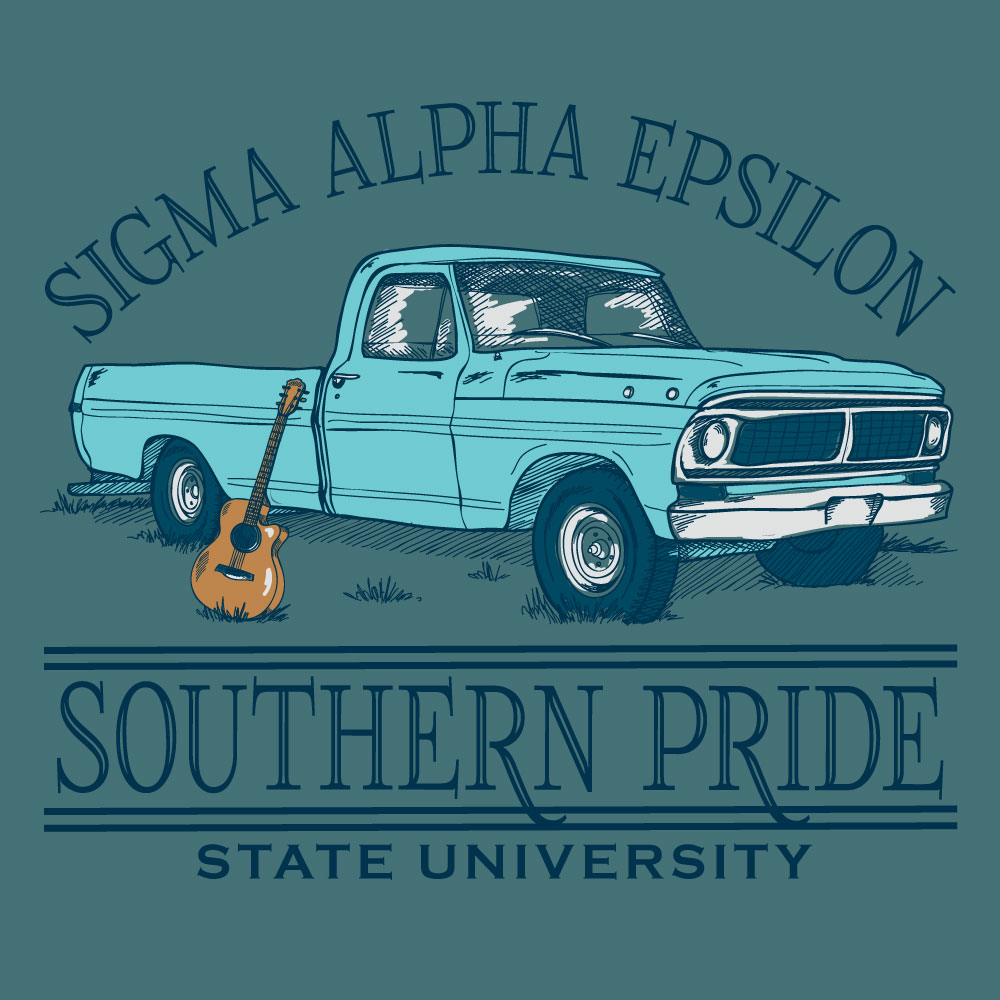Southern Truck. Alyssa Moore. T-Shirt Design. Apparel Graphic Design for Geneologie. Adobe Illustrator. Typography. Illustration. Vector illustration.