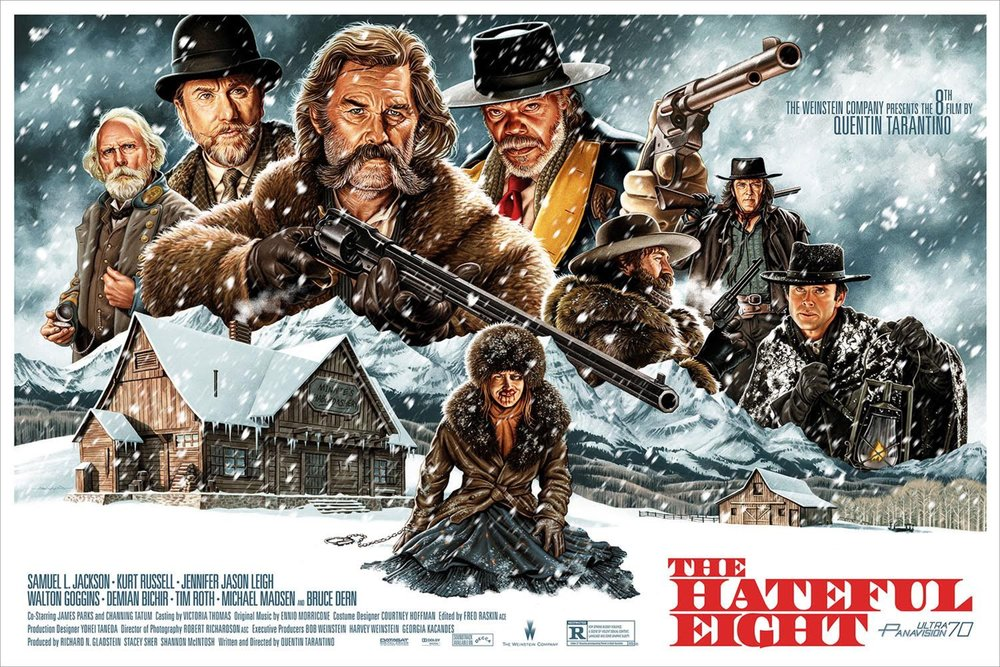 "1 Lucky Winner Will Receive A SOLD OUT Hateful Eight Officially Licensed 24"" X 36"" 9 Color Silkscreened Movie Poster."