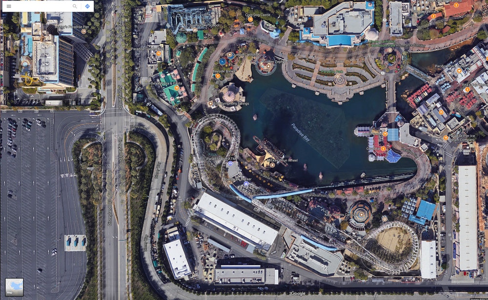 Satellite view of Pixar Pier