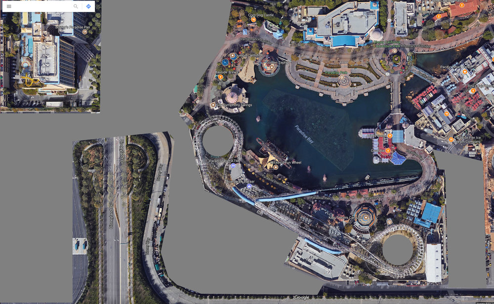 Long term amount of backstage land that could be opened up as themed environment.