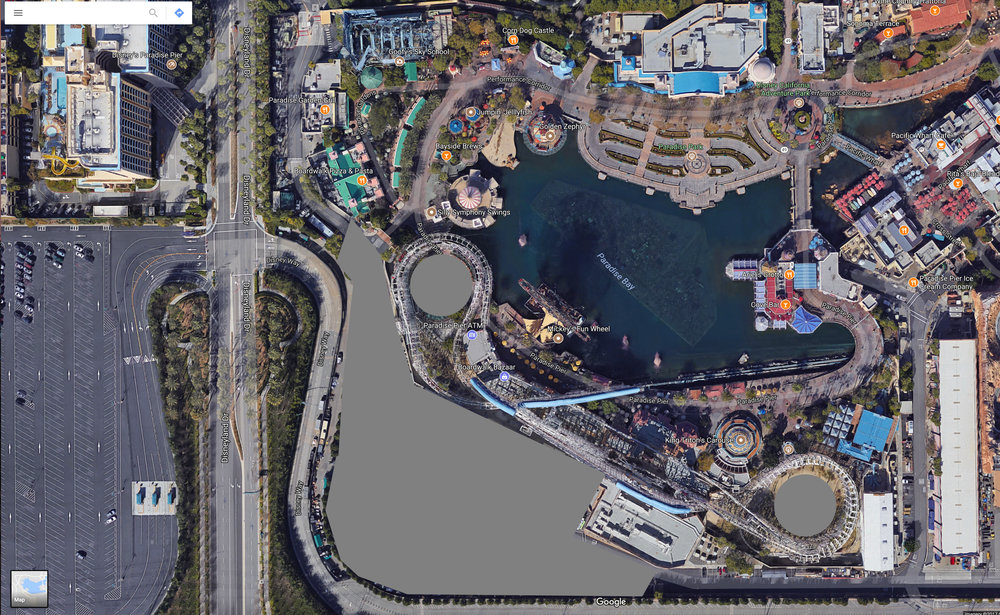 Short term amount of backstage land that could be opened up as themed environment.