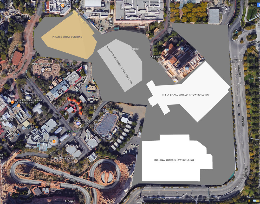 Possible area for future Marvel Land expansion project with familiar show buildings added for scale.