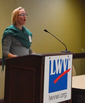 Laura Dresser, Assistant Director of COWS, speaks at the Annual Meeting.
