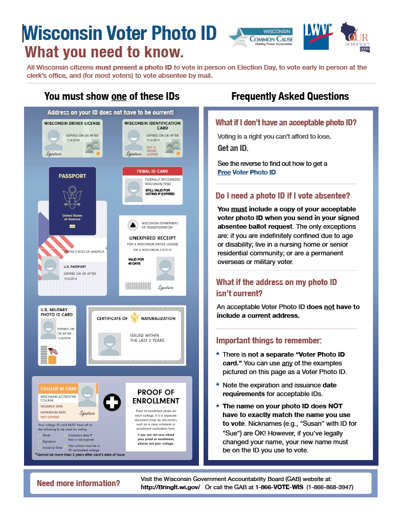 View/Download current fact sheets in English about Voter ID or Voter ID for Seniors or Voter ID for Wisconsin students (this document not updated for 2017). View/Download fact sheets en Español.  Identificación con Fotografía para Votar o Identificación con Fotografía para Votar - las personas de la tercera edad.
