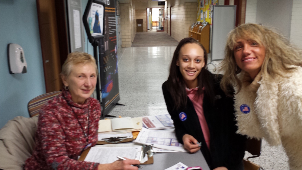 Shirley Haidinger with two happy registrants at MATC Downtown