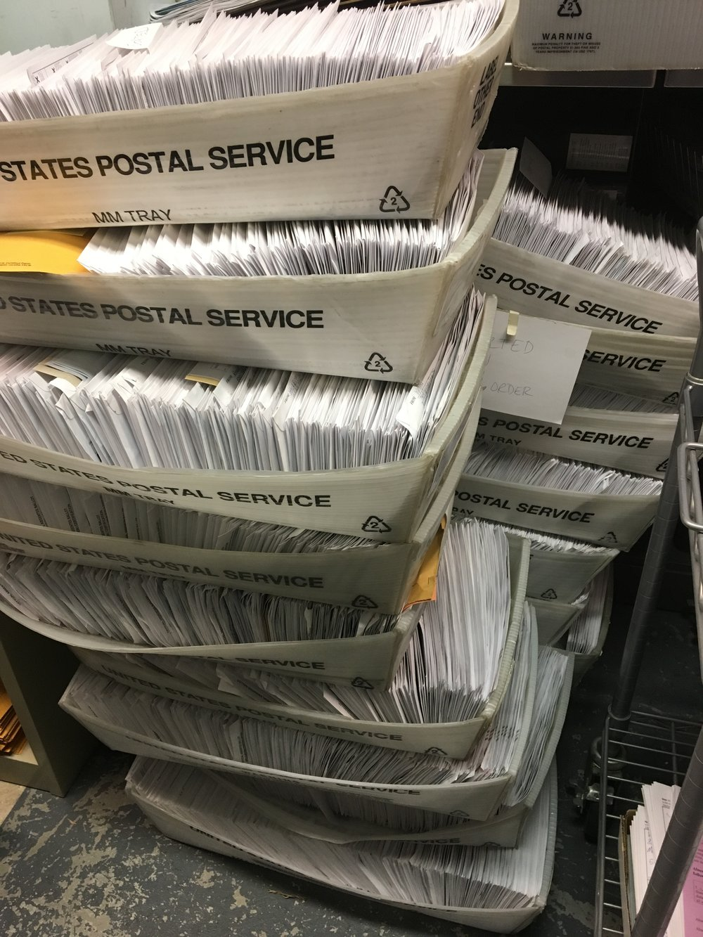 Trays of in-person absentee ballots, sorted by ward, in the vault at the City Clerk's office. (Photo courtesy of Maribeth Witzel-Behl.)