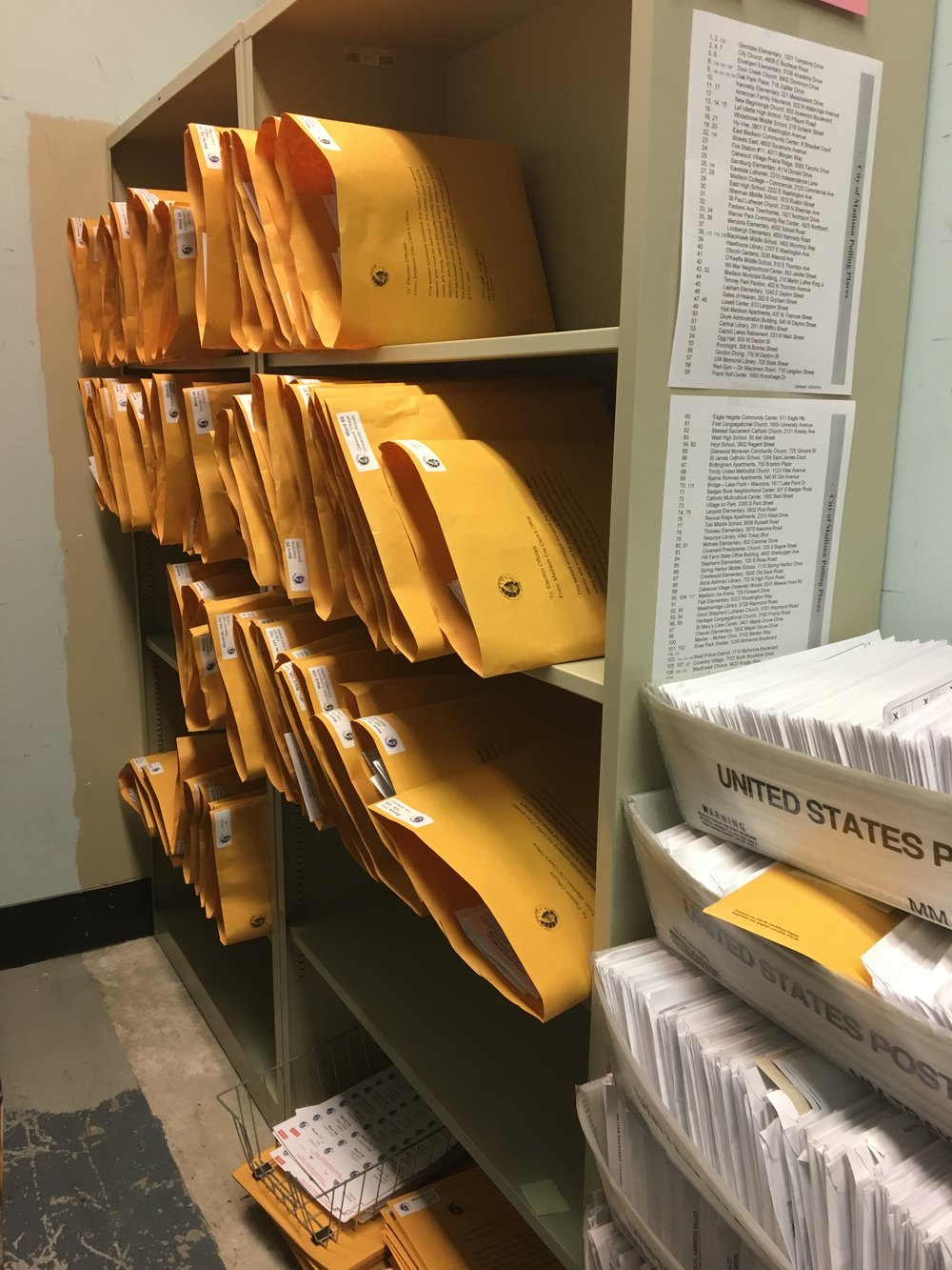 In the vault, sorted ballots are placed into larger envelopes to be delivered to polling locations on Election Day. (Photo courtesy of Maribeth Witzel-Behl.)