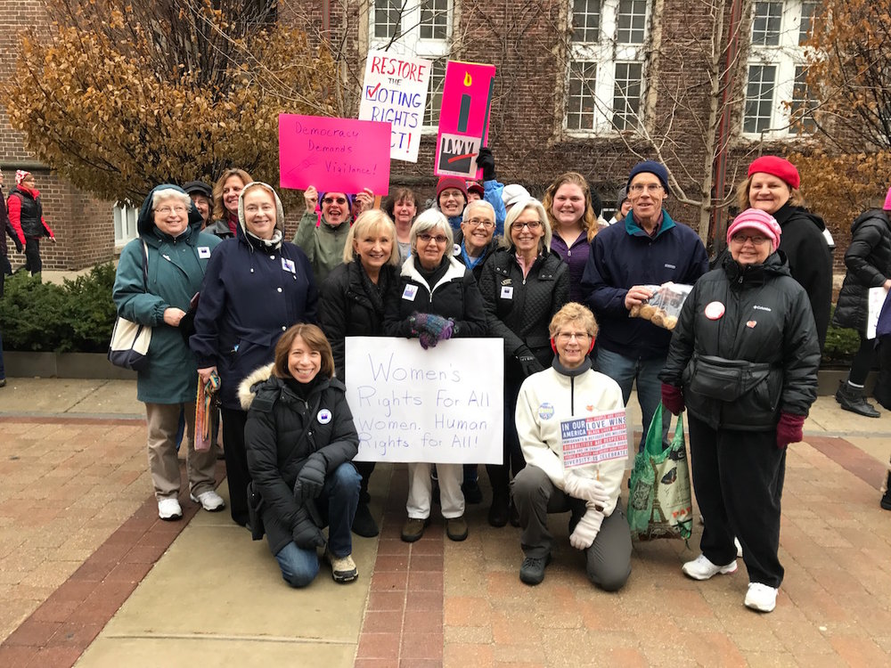 League members from Dane County, Janesville, Whitewater, and Milwaukee County gathered to march together on January 21st. Marchers carried signs calling for women's rights, equal rights, restoration of the Voting Rights Act, love and kindness, and protections for democracy.