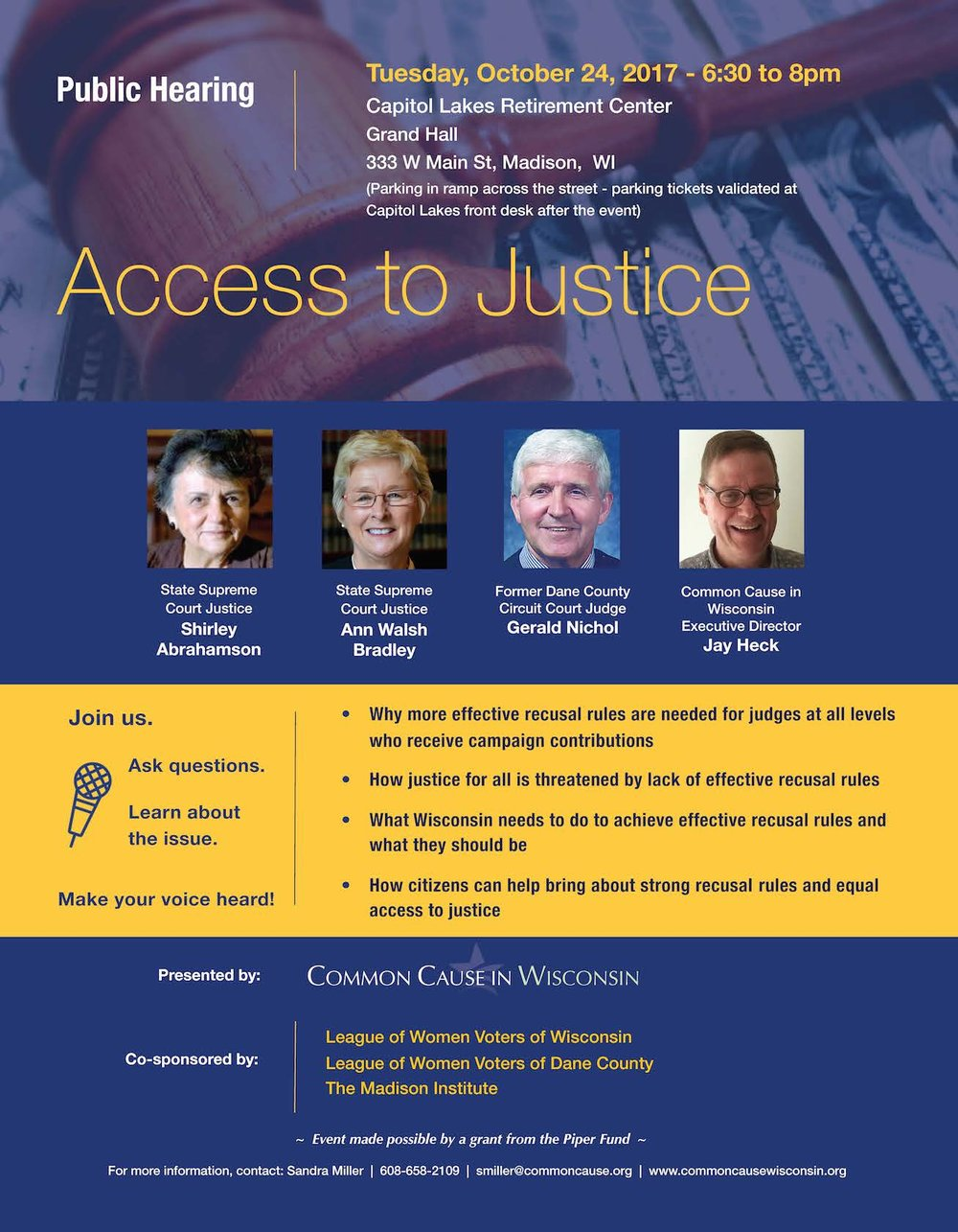 [Updated flyer shows additional co-sponsor: The Madison Institute.]