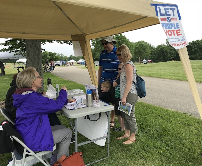 Voter outreach at Lake Farms Park, June, 2018