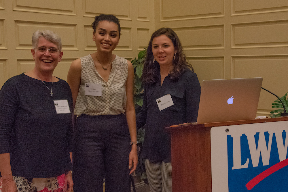 Emayu Edari-Sellassie and Allison Leyer, organizers of Madison's March for Our Lives at our Annual Meeting, May, 2018.