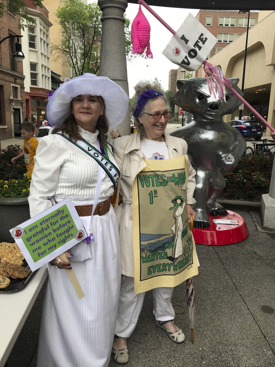 Marchers in full Suffragist mode!