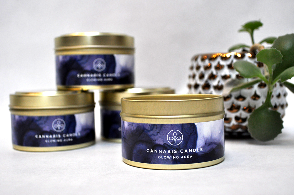 Glowing Aura Cannabis Candle
