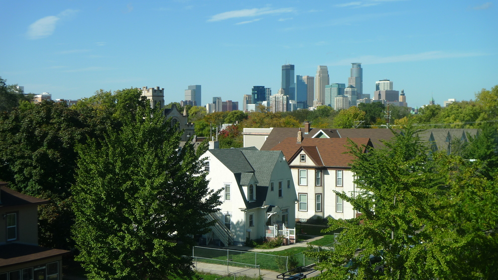 View of Downtown Minneapolis from a fourth floor apartment.