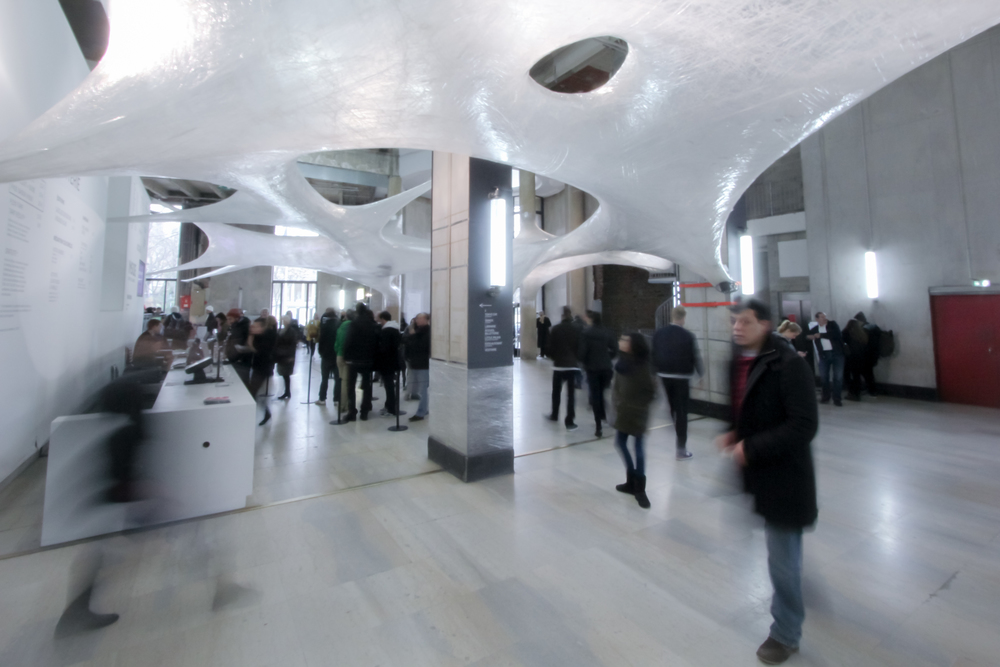 Inside the entrance hall of Palais de Tokyo