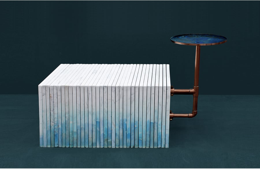 Carrara Marble bench. Oxidation Aftermath. Image courtesy by HandMade Industrials.
